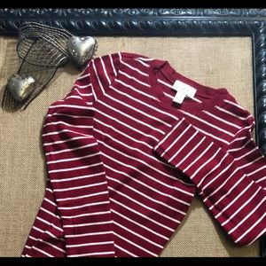 Loft Petites Red and White Striped Top SzSP